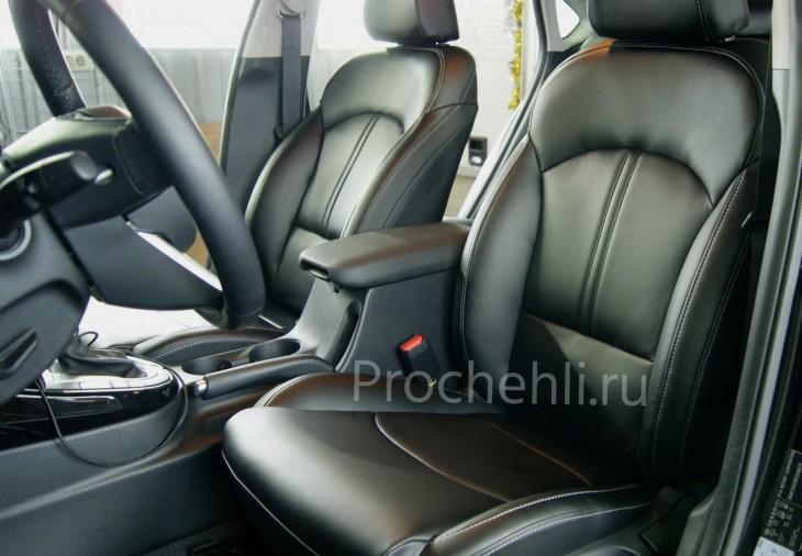 Каркасные авточехлы с эффектом перетяжки салона для Kia Cerato 4 из черной экокожи №1
