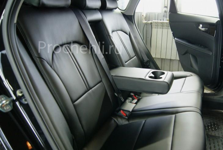 Каркасные авточехлы с эффектом перетяжки салона для Kia Cerato 4 из черной экокожи №6