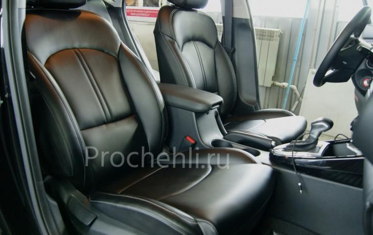 Каркасные авточехлы с эффектом перетяжки салона для Kia Cerato 4 из черной экокожи №2