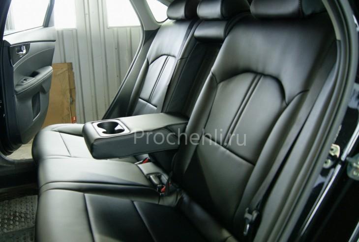 Каркасные авточехлы с эффектом перетяжки салона для Kia Cerato 4 из черной экокожи №7
