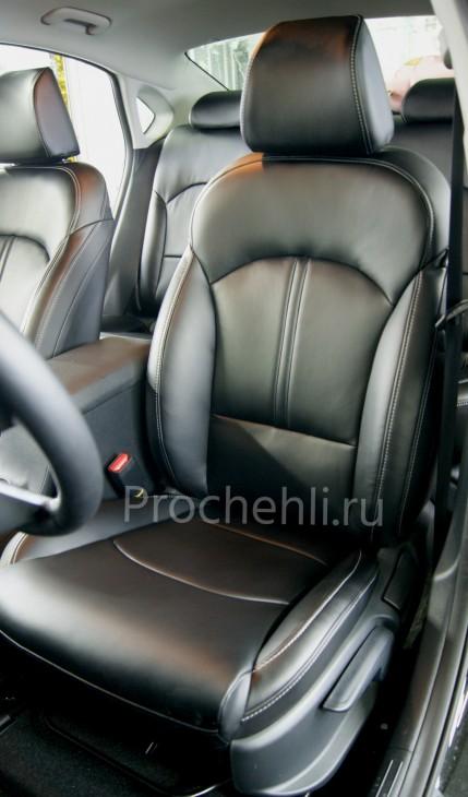 Каркасные авточехлы с эффектом перетяжки салона для Kia Cerato 4 из черной экокожи №3