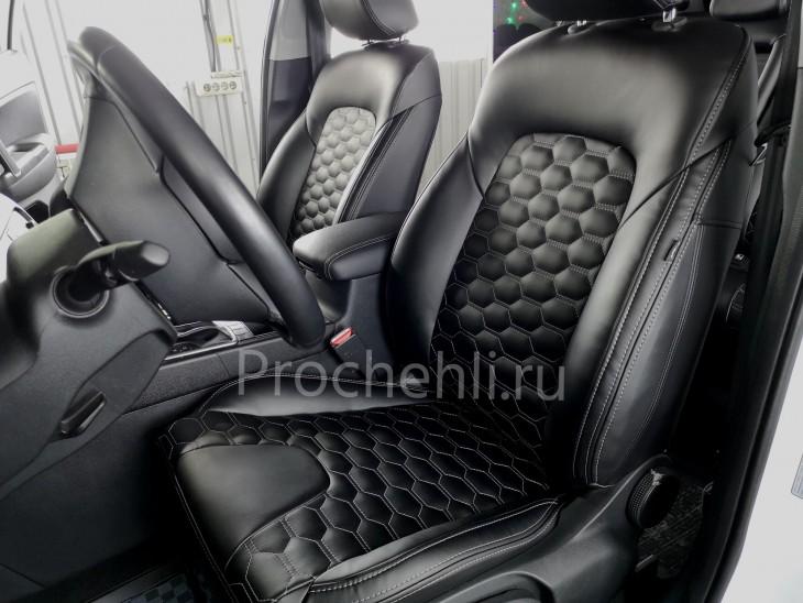 Каркасные чехлы для Kia Sportage 4 из экокожи с отстрочкой сотами №3