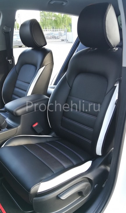 Каркасные чехлы для Kia Sportage 4 из черно-белой экокожи №1