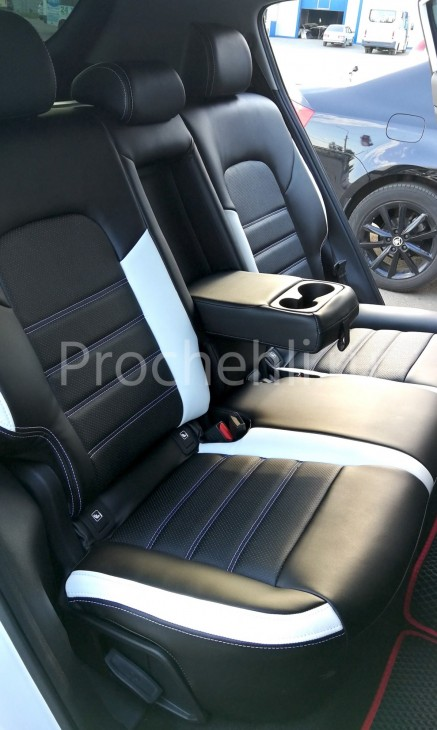 Каркасные чехлы для Kia Sportage 4 из черно-белой экокожи №4