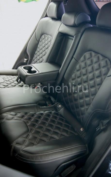Каркасные чехлы для Kia Sportage 4 из экокожи с отстрочкой двойным ромбом №6