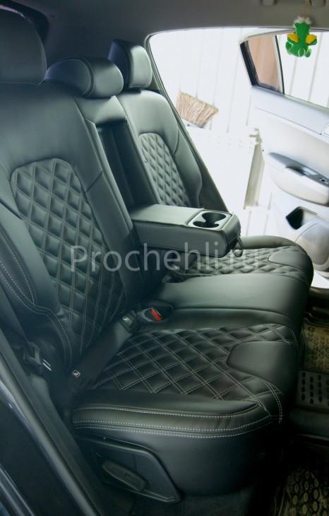 Каркасные чехлы для Kia Sportage 4 из экокожи с отстрочкой двойным ромбом №8