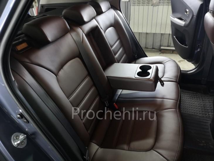 Каркасные авточехлы на Kia Ceed 2 JD из коричневой экокожи №6