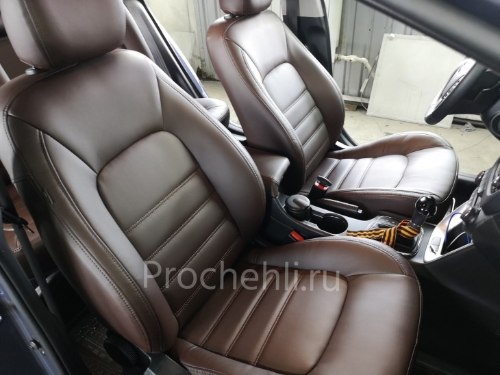 Каркасные авточехлы на Kia Ceed 2 JD из коричневой экокожи №4