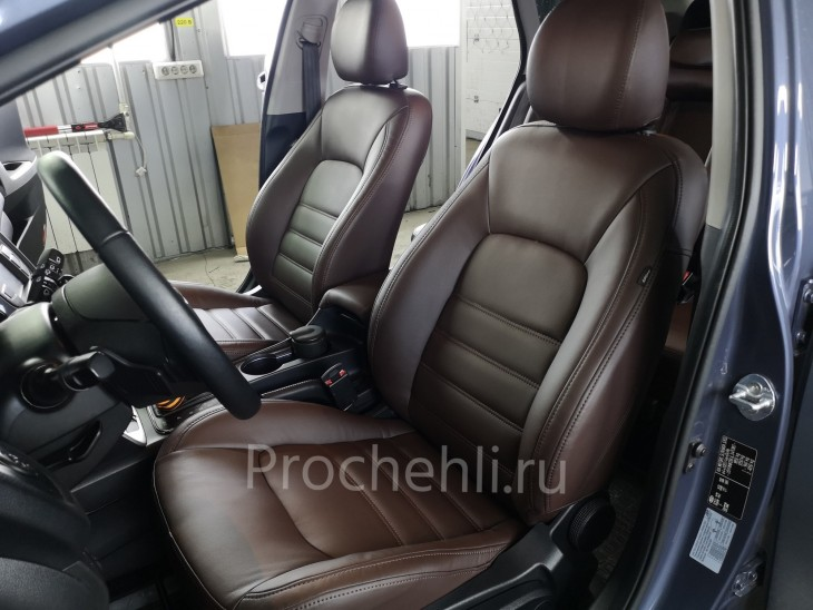 Каркасные авточехлы на Kia Ceed 2 JD из коричневой экокожи №2