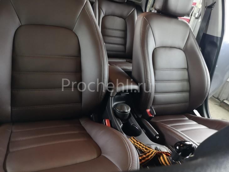 Каркасные авточехлы на Kia Ceed 2 JD из коричневой экокожи №3