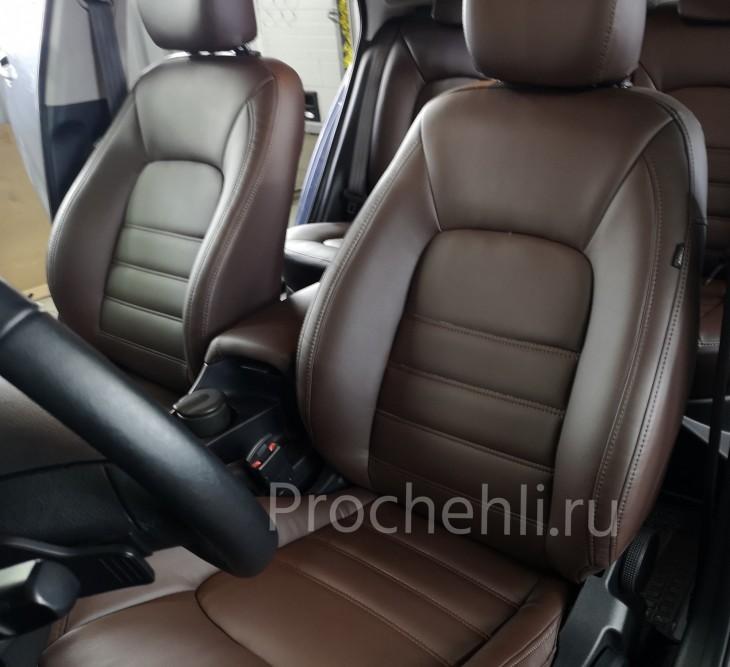 Каркасные авточехлы на Kia Ceed 2 JD из коричневой экокожи №5