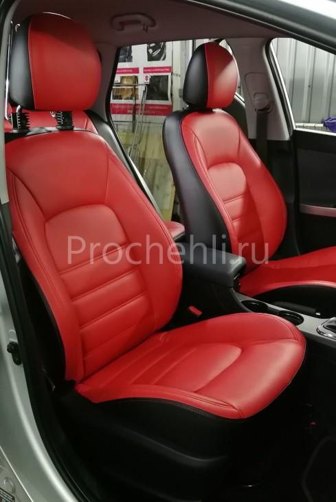 Каркасные авточехлы на Kia Ceed 2 JD из красной и черной экокожи №1