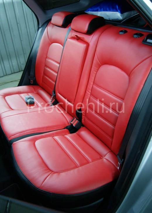 Каркасные авточехлы на Kia Ceed 2 JD из красной и черной экокожи №2