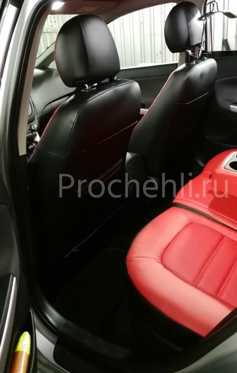 Каркасные авточехлы на Kia Ceed 2 JD из красной и черной экокожи №5