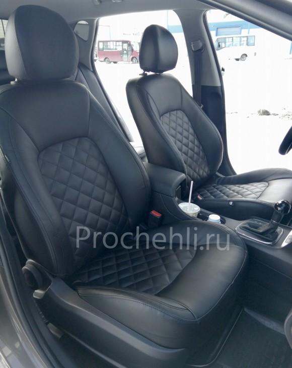 Каркасные авточехлы на Kia Ceed 2 JD из черной экокожи с ромбом №1