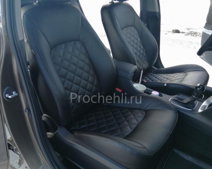 Каркасные авточехлы на Kia Ceed 2 JD из черной экокожи с ромбом №2