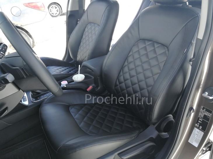 Каркасные авточехлы на Kia Ceed 2 JD из черной экокожи с ромбом №3