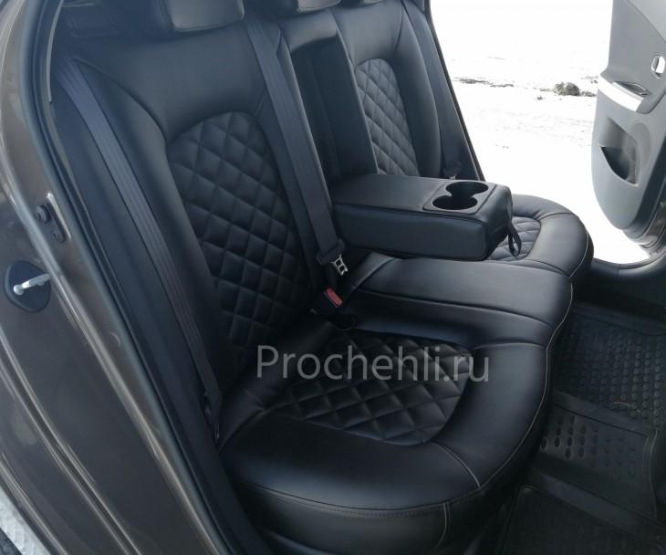 Каркасные авточехлы на Kia Ceed 2 JD из черной экокожи с ромбом №4