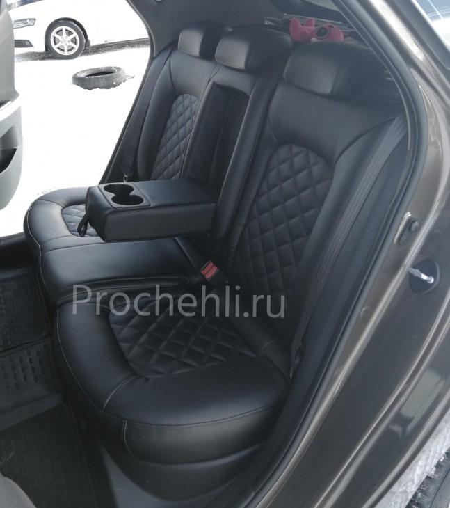 Каркасные авточехлы на Kia Ceed 2 JD из черной экокожи с ромбом №5