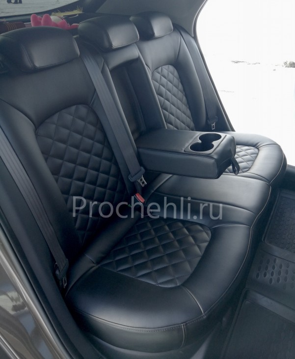 Каркасные авточехлы на Kia Ceed 2 JD из черной экокожи с ромбом №6
