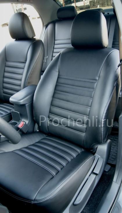 Каркасные чехлы на Toyota Corolla E140,E150 из черной экокожи №3