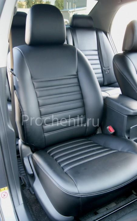 Каркасные чехлы на Toyota Corolla E140,E150 из черной экокожи №4