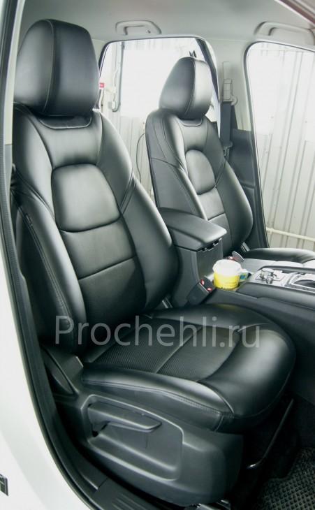Каркасные чехлы для Mazda CX-5 (2 поколение) из черной экокожи №4
