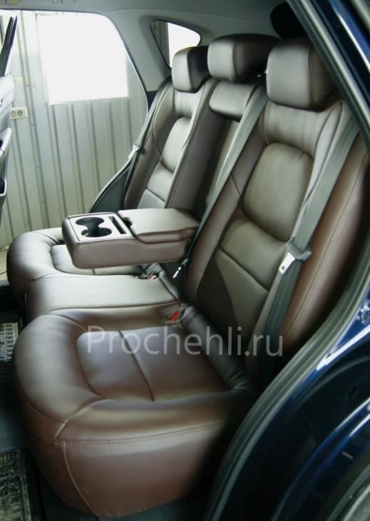 Каркасные чехлы для Mazda CX-5 (2 поколение) из темно-коричневой экокожи №6