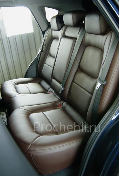 Каркасные чехлы для Mazda CX-5 (2 поколение) из темно-коричневой экокожи №9