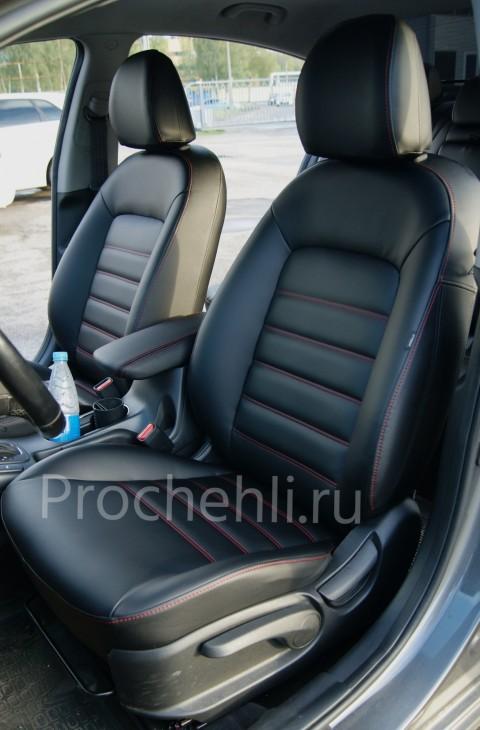 Каркасные чехлы на Kia Cerato 3 с эффектом перетяжки из черной экокожи с красной строчкой №5