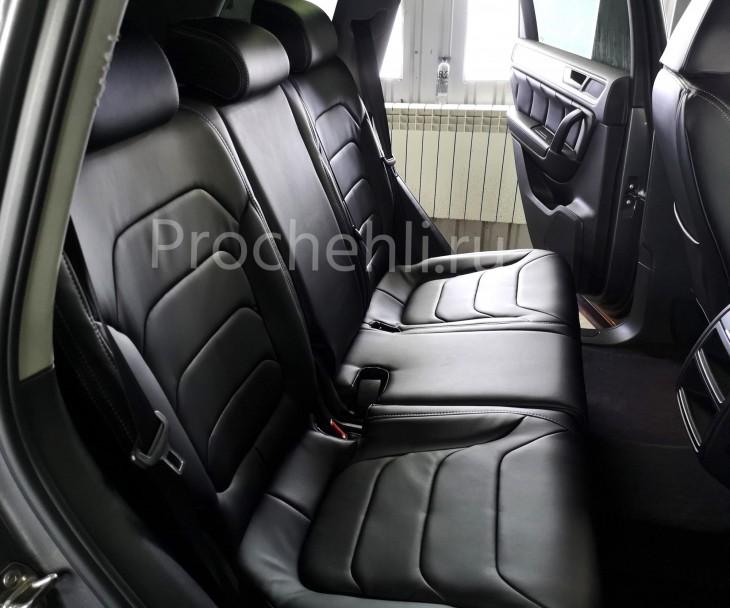 Каркасные чехлы для Volkswagen Touareg 2 из черной экокожи №3