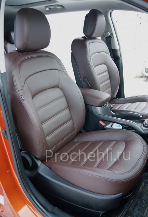 Каркасные чехлы для Kia Sportage 3 из темно-коричневой экокожи №1