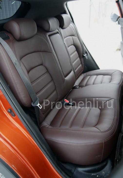 Каркасные чехлы для Kia Sportage 3 из темно-коричневой экокожи №4