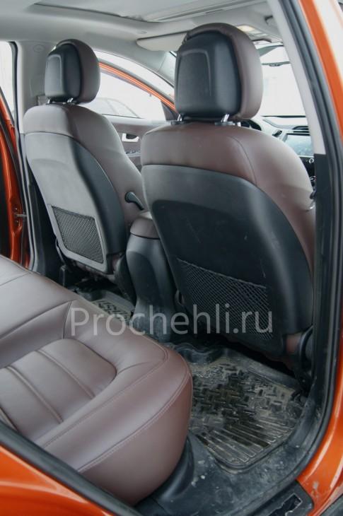 Каркасные чехлы для Kia Sportage 3 из темно-коричневой экокожи №6
