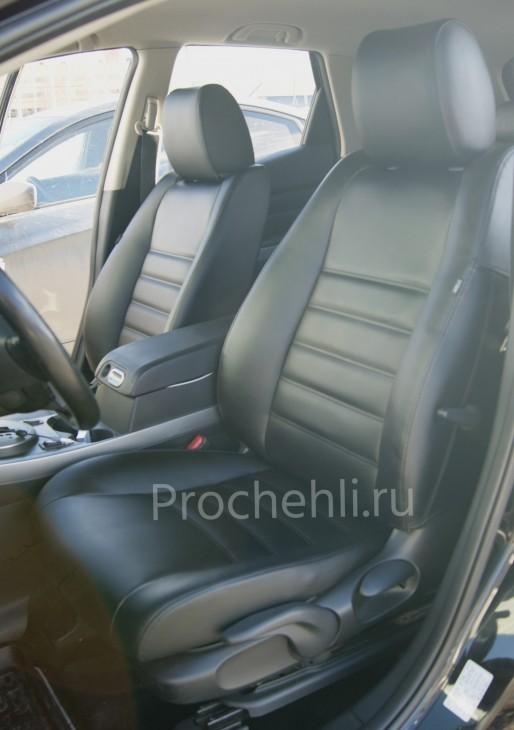 Каркасные чехлы для Mazda CX-7 из черной экокожи №3