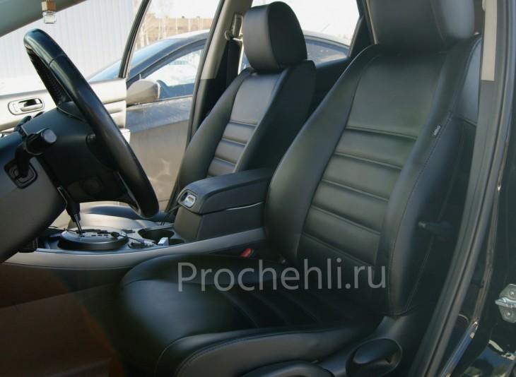 Каркасные чехлы для Mazda CX-7 из черной экокожи №1