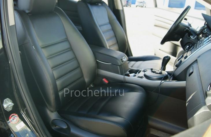 Каркасные чехлы для Mazda CX-7 из черной экокожи №2