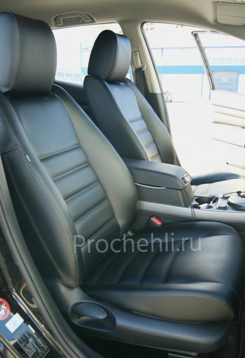 Каркасные чехлы для Mazda CX-7 из черной экокожи №4