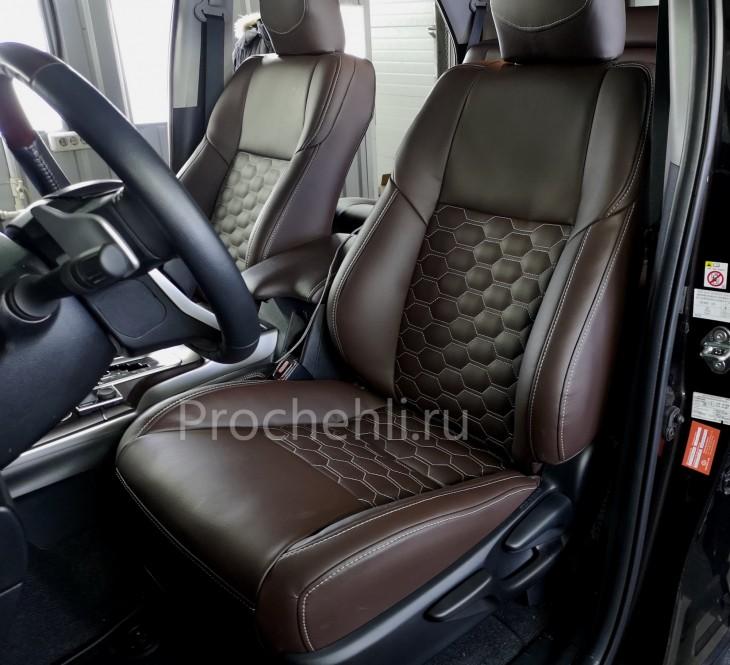 Каркасные чехлы для Toyota Fortuner 2 из темно-коричневой экокожи №2