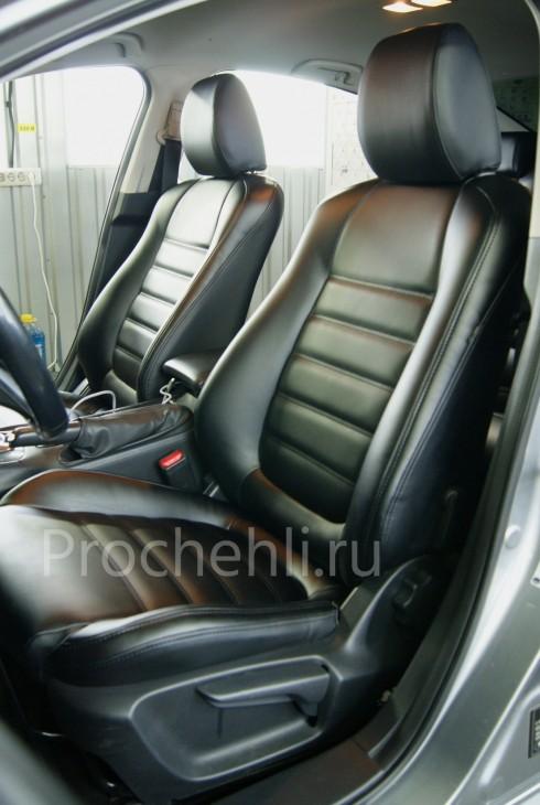 Каркасные чехлы для Mazda 6 (GJ) из черной экокожи №1