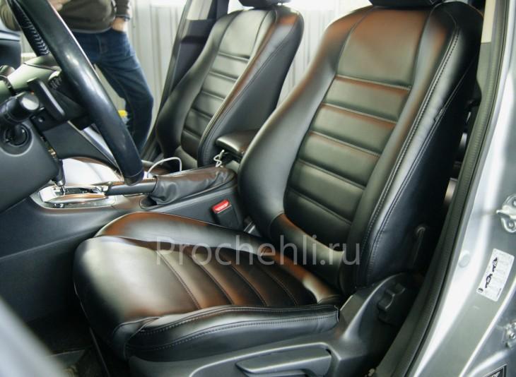 Каркасные чехлы для Mazda 6 (GJ) из черной экокожи №2