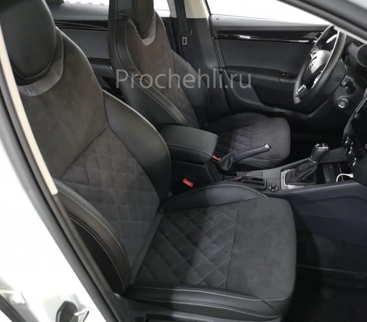Каркасные чехлы для Skoda Octavia A7 black edition с алькантарой №2
