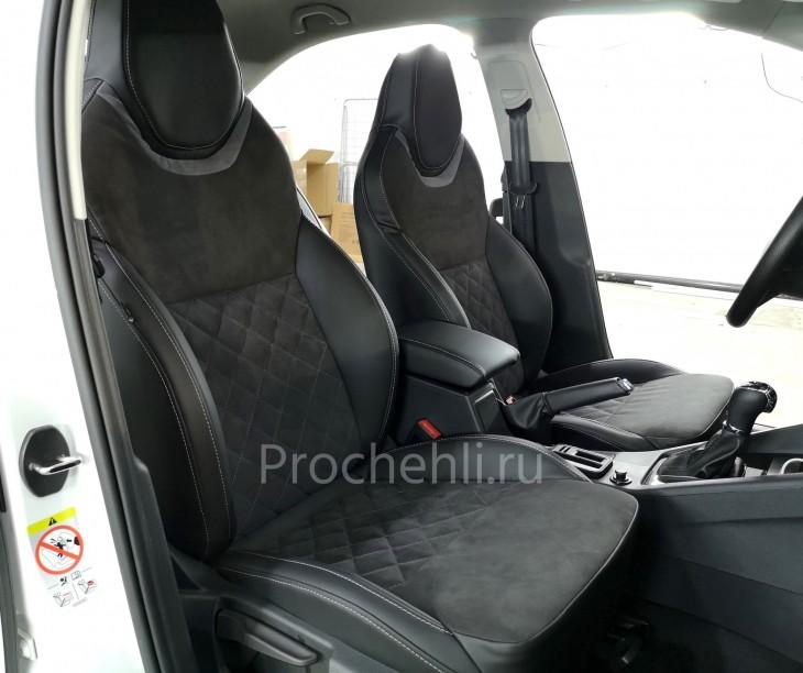 Каркасные чехлы для Skoda Octavia A7 black edition с алькантарой №4
