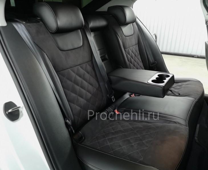 Каркасные чехлы для Skoda Octavia A7 black edition с алькантарой №3