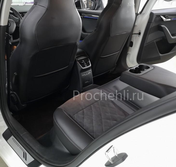 Каркасные чехлы для Skoda Octavia A7 black edition с алькантарой №8