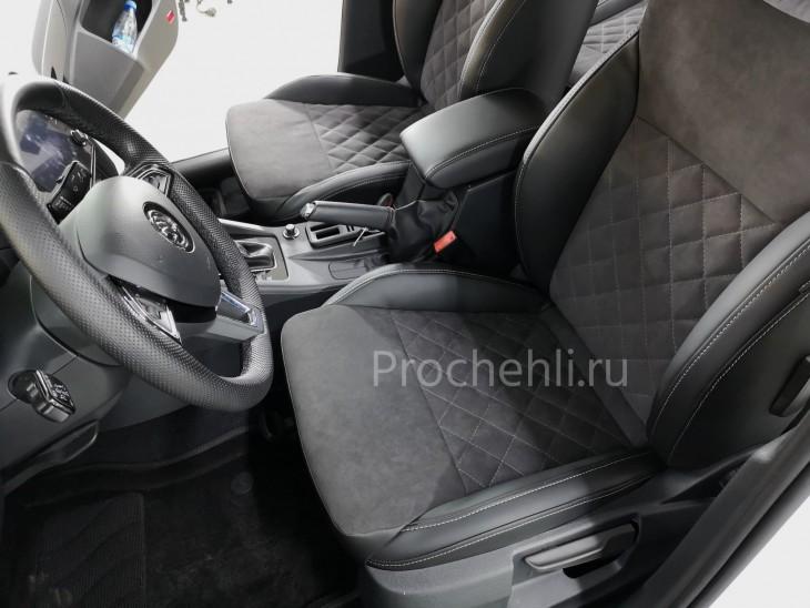 Каркасные чехлы для Skoda Octavia A7 black edition с алькантарой №7
