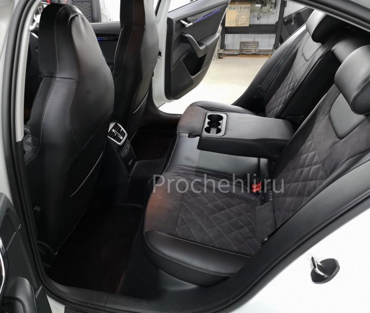 Каркасные чехлы для Skoda Octavia A7 black edition с алькантарой №5