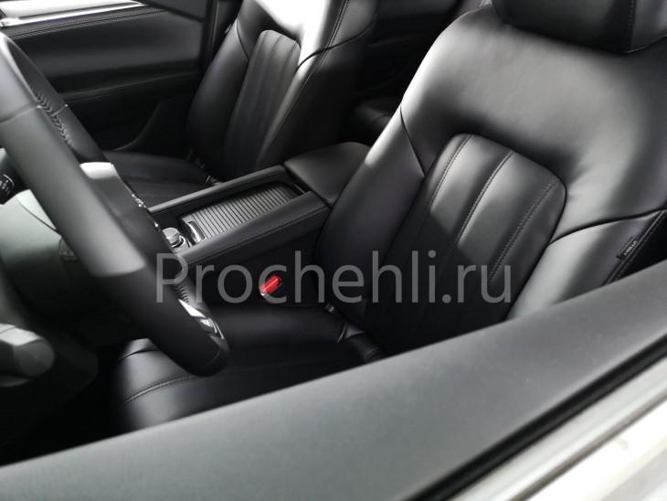 Каркасные чехлы для Mazda 6 (GJ) рестайлинг 2019 из черной экокожи №10