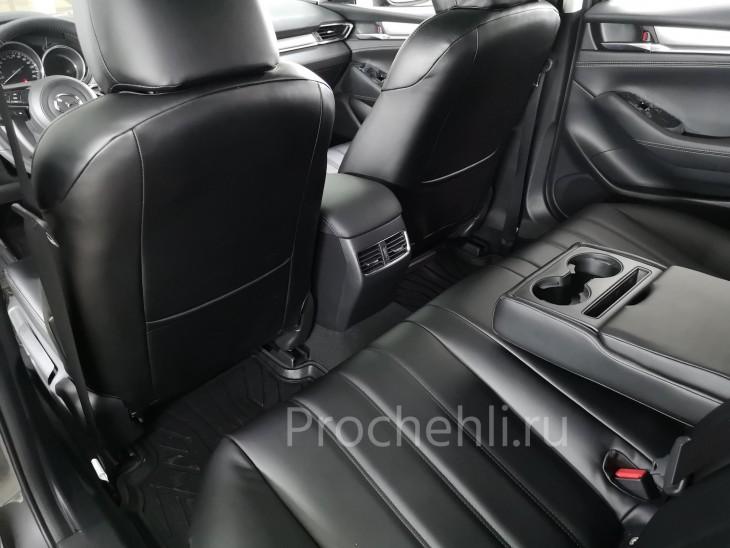 Каркасные чехлы для Mazda 6 (GJ) рестайлинг 2019 из черной экокожи №7