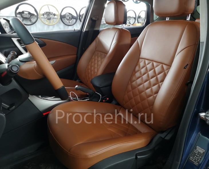 Каркасные чехлы для Opel Astra J из рыже-коричневой экокожи №1